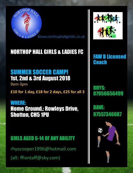 Northop Hall Girls FC Summer Soccer Camp 2018