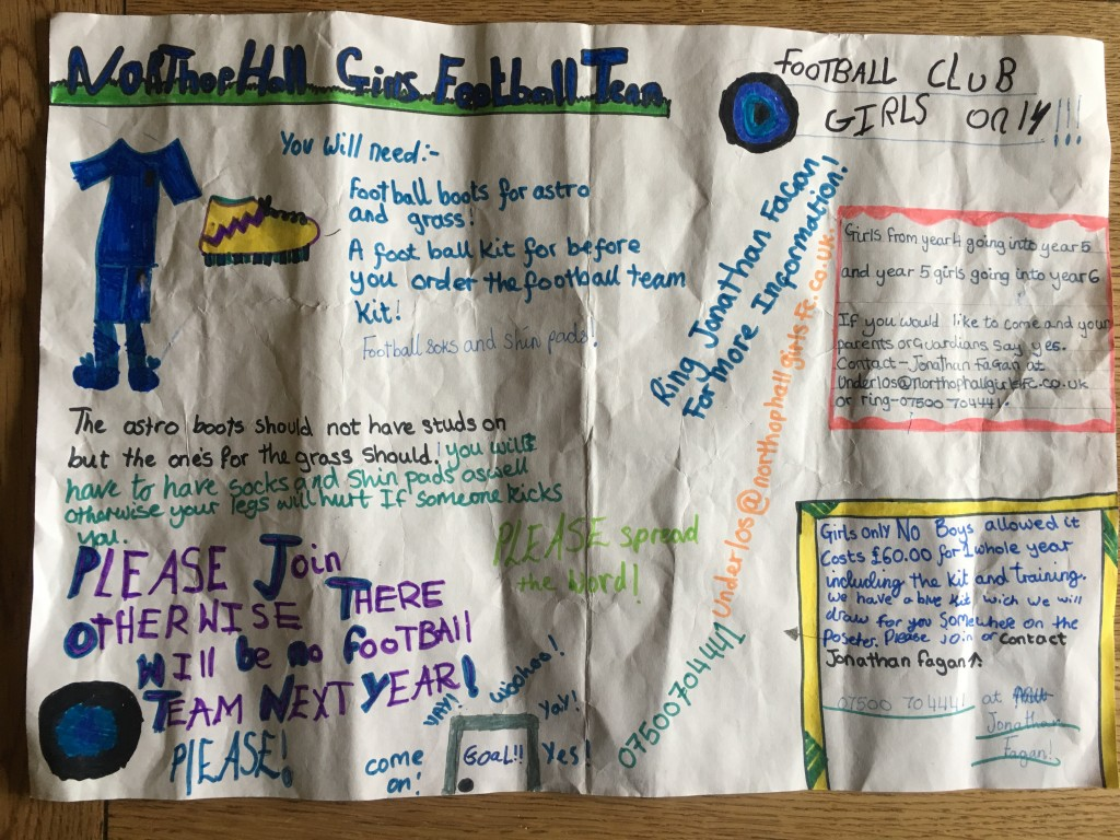 under 10s girls football recruitment poster
